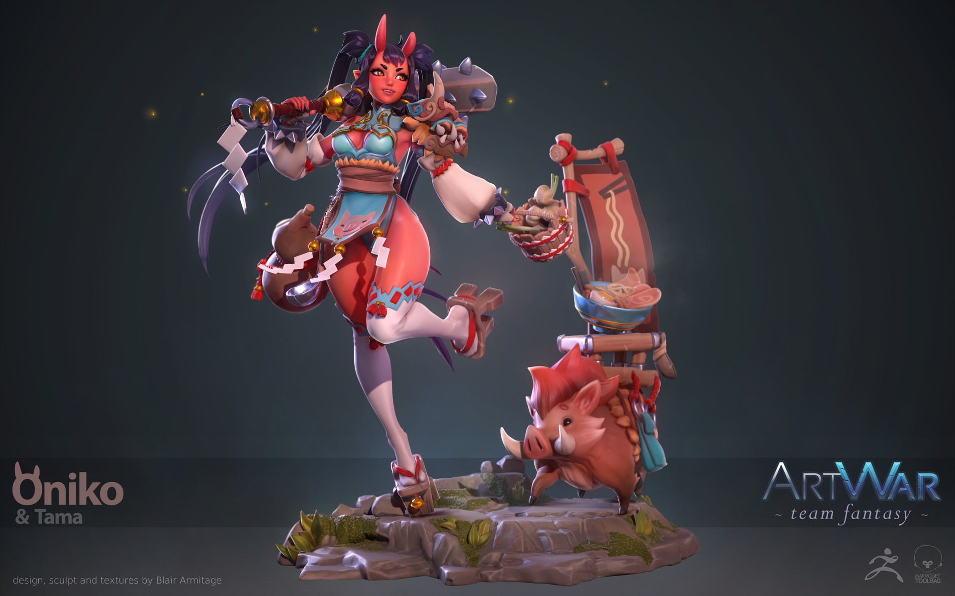 Oniko & Tama: Sculpting and Texturing